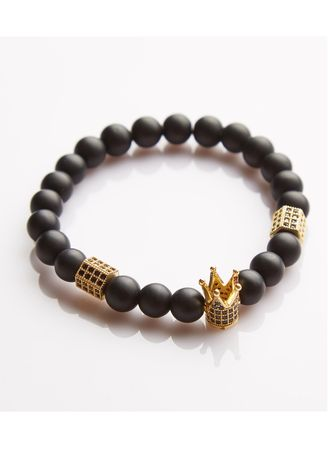 Gold color Bracelets . J. By Jee Natural Onxy Stone Bead Crystal Gold Crown -
