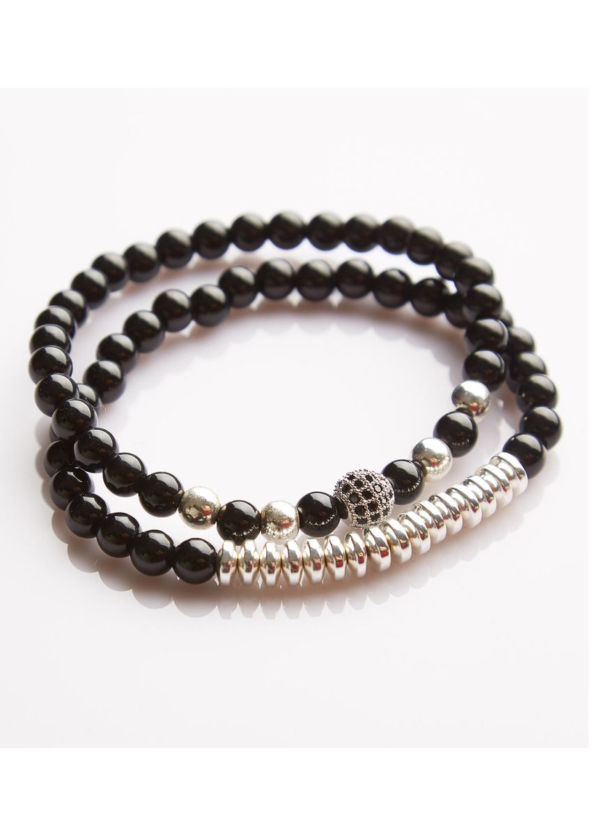 Silver color Bracelets . J. By Jee Natural Onxy Stone Bead Crystal Silver Ball Charms -
