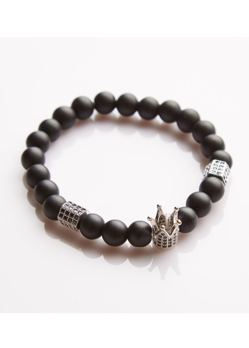 Silver color Bracelets . J. By Jee Natural Onxy Stone Bead Crystal Silver Crown -