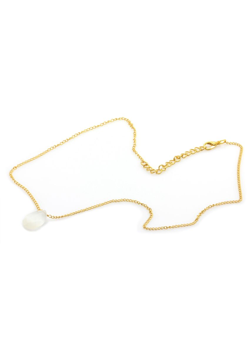 White color  . Moonstone Necklace In Gold Plated Brass -