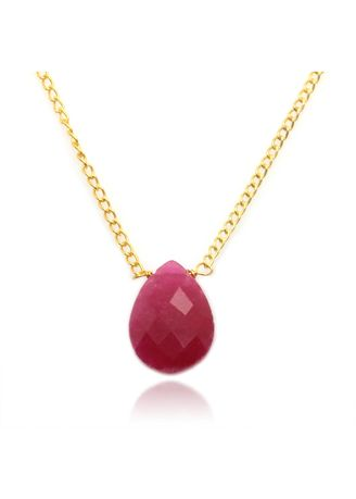 Maroon color  . Reconstructed Ruby Necklace In Gold Plated Brass -