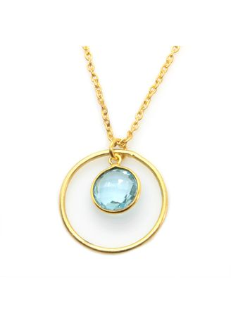 Blue color  . Topaz Necklace In Gold Plated Brass -