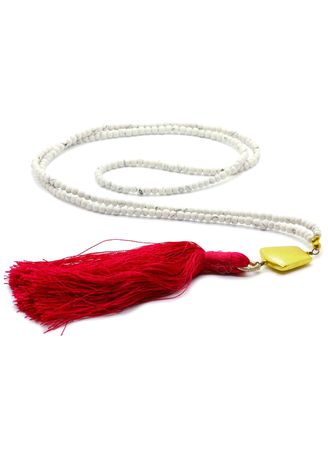 White color  . White Turquoise Beads On Red Tassel Necklace -