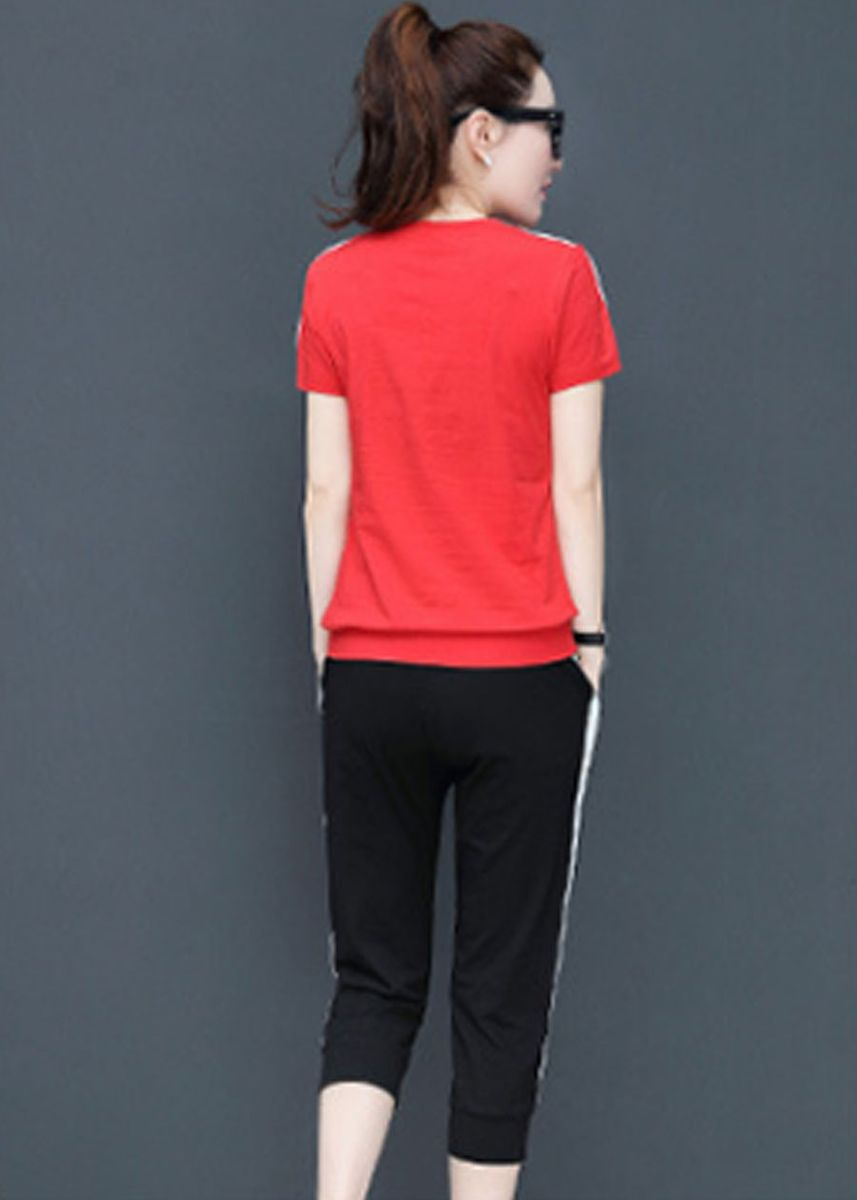 Red color Trousers . 2 Piece Casual Letter Printed Straight Trousers Set -
