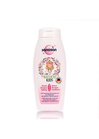 No Color color Hair Wash . Sanosan Natural Kids 3in1 Shower, Shampoo & Conditioner 250ml -
