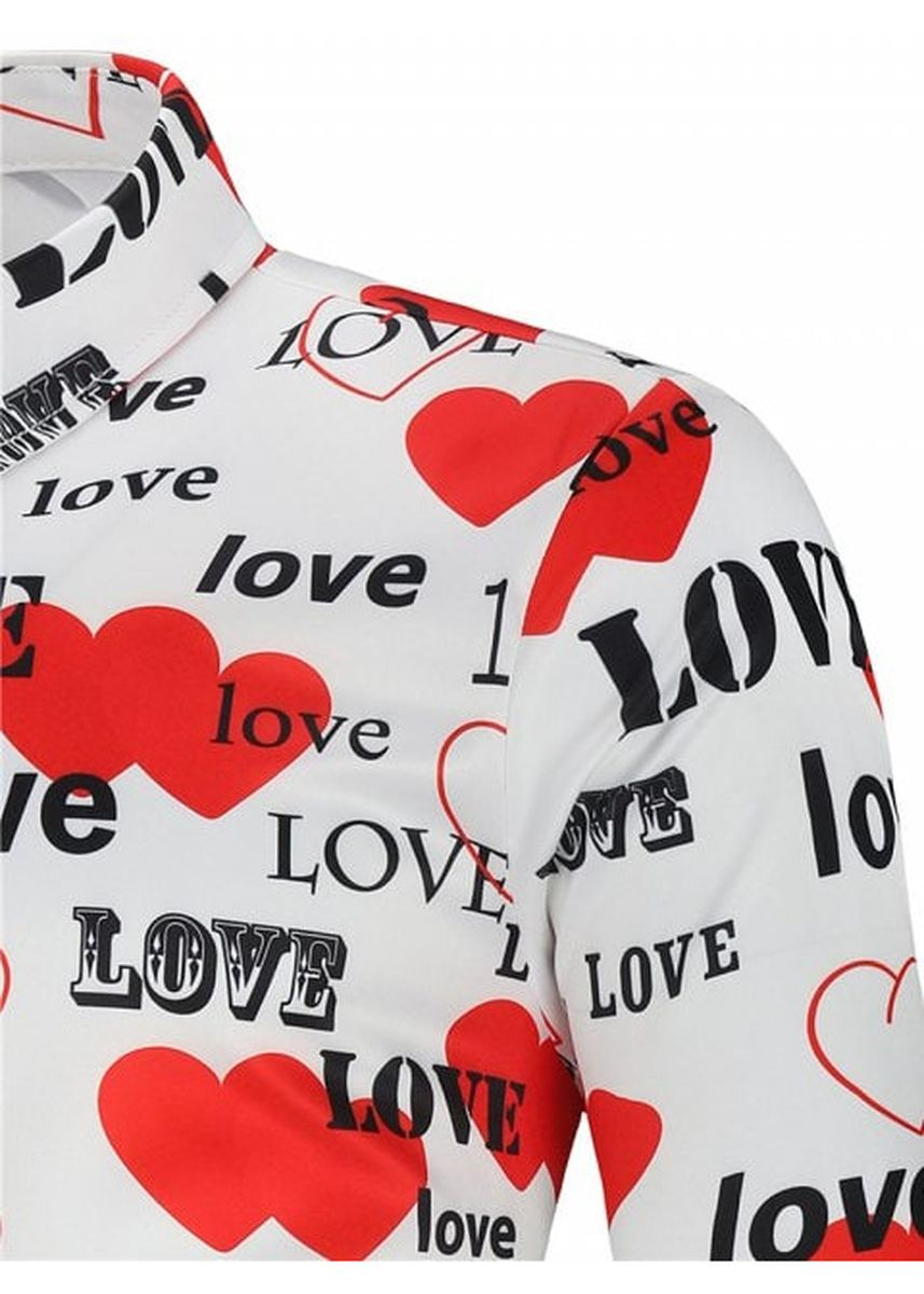 White color Casual Shirts . Love Letters Heart Printed Valentine's Day Shirt -