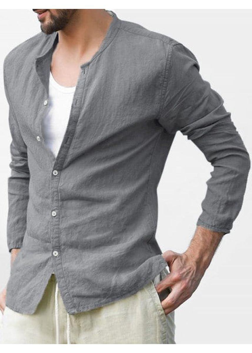 Grey color Casual Shirts . Button Up Stand Collar Long Sleeve Shirt -