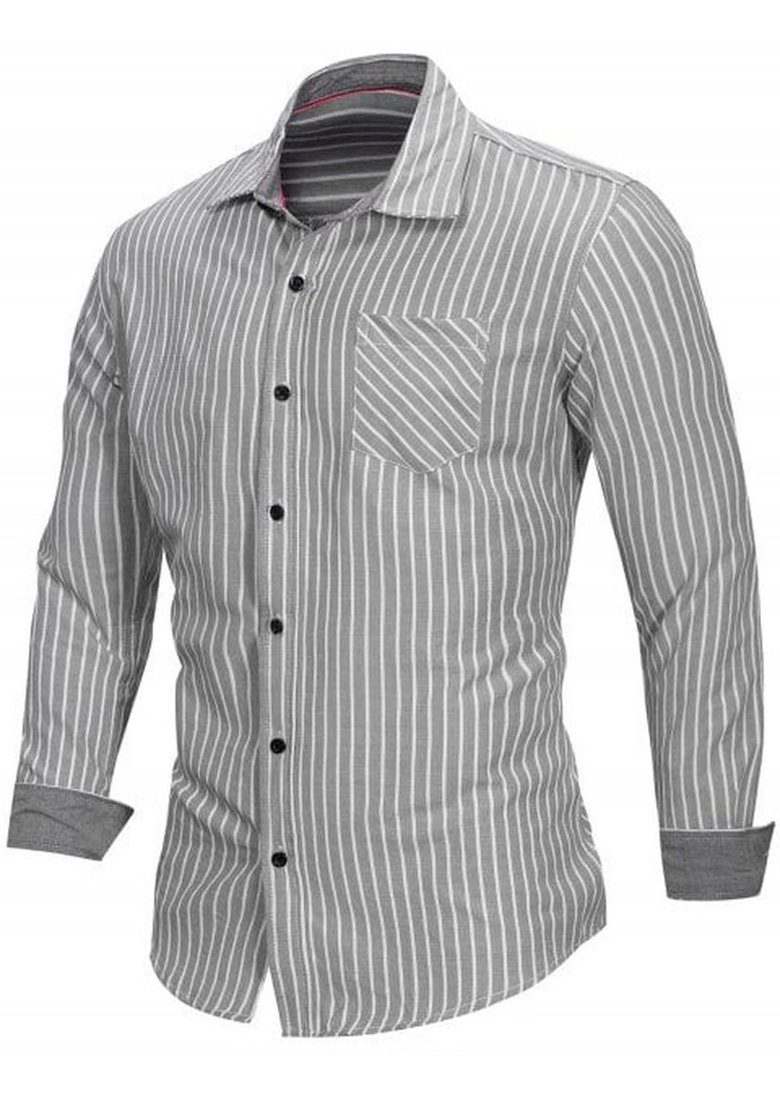 Light Grey color Casual Shirts . Pocketed Stripe Print Long Sleeve Button Up Shirt -