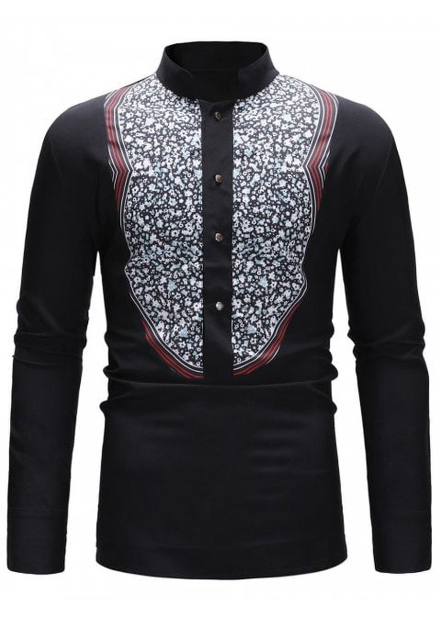 Multi color Casual Shirts . Floral Splicing Buttoned Stand Collar Shirt -