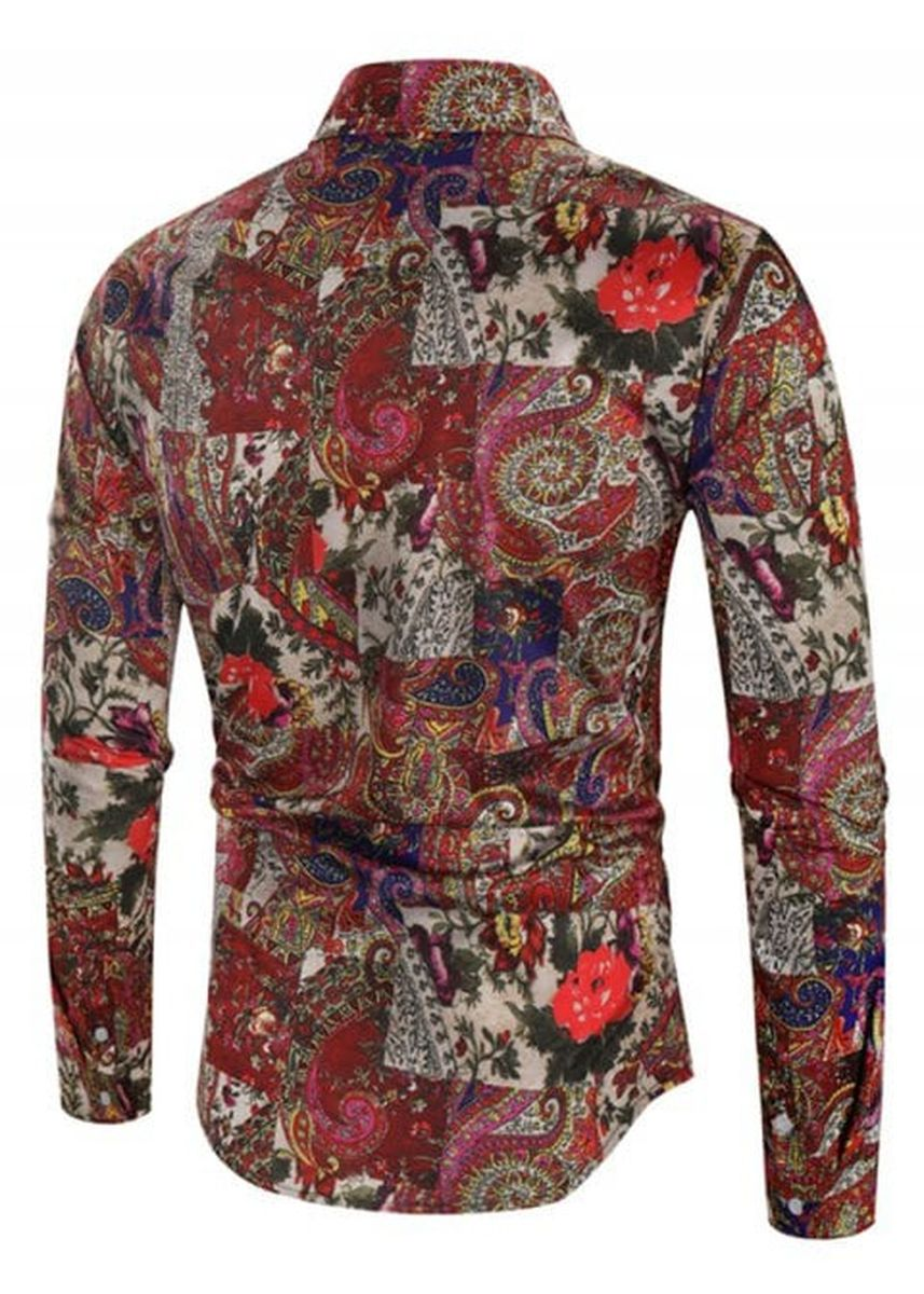 Multi color Casual Shirts . Tribal Flower Paisley Print Casual Shirt -