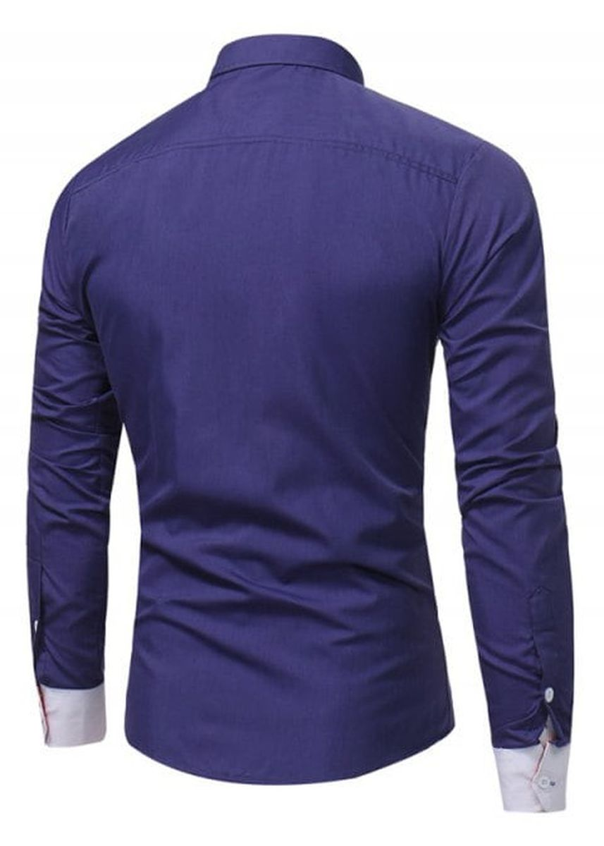 Navy color Casual Shirts . Long Sleeve Slim Fit Color Block Panel Shirt -