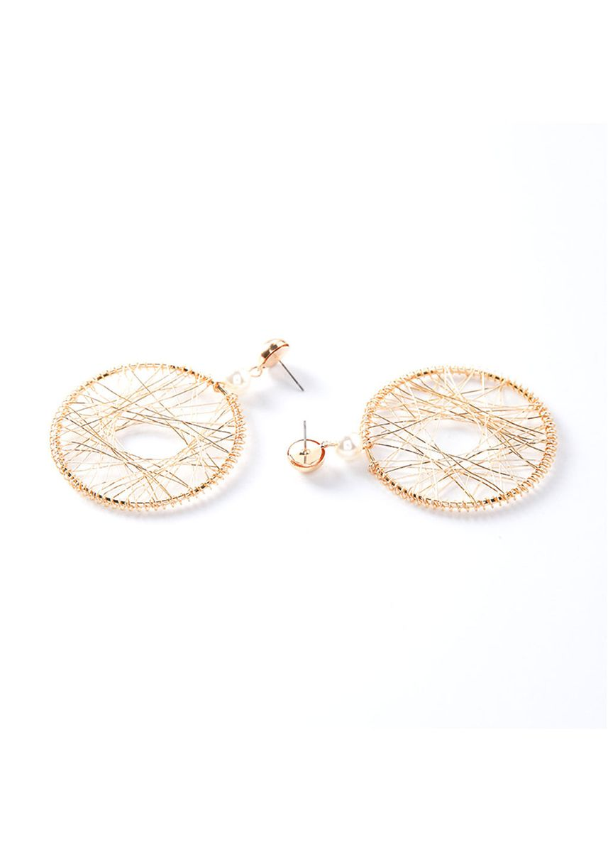 Gold color  . Exaggerated Mesh Large Earrings for Women -