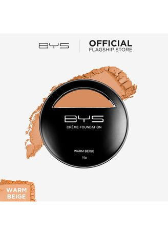Beige color Face . BYS Foundation Crème with Sponge (06 Warm Beige) -