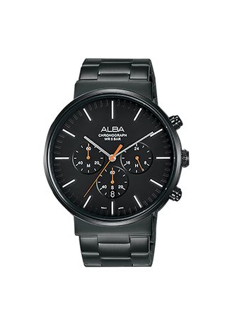 Black color Chronographs . Alba Jam Tangan Pria Tali Rantai AT3E23 Chronograph Men Black Dial Black Stainless Steel Strap -