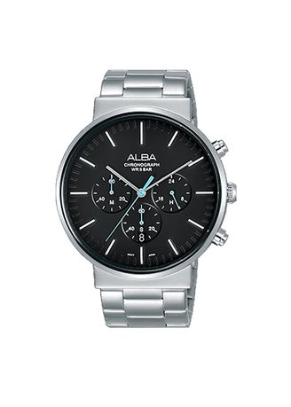 Black color Chronographs . Alba Jam Tangan Pria Tali Rantai AT3E27 Chronograph Men Black Dial Black Stainless Steel Strap -
