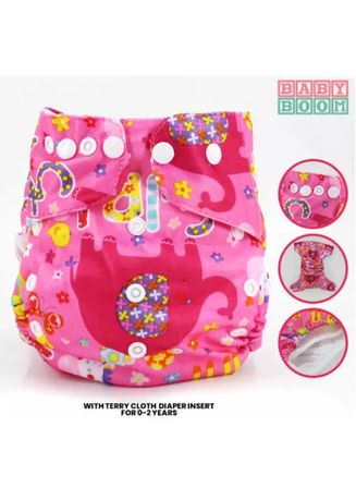 Baby Boom Washable Cloth Diaper Cover With Insert - Pink