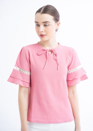 Pink color Tops and Tunics . Luna Pink Blouse  -