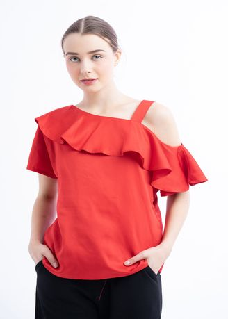 Red color Tops and Tunics . Josephine Ruffle Top -