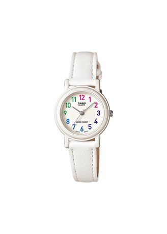 White color Analog . Casio Quartz Women's Leather Strap Analog Watch -