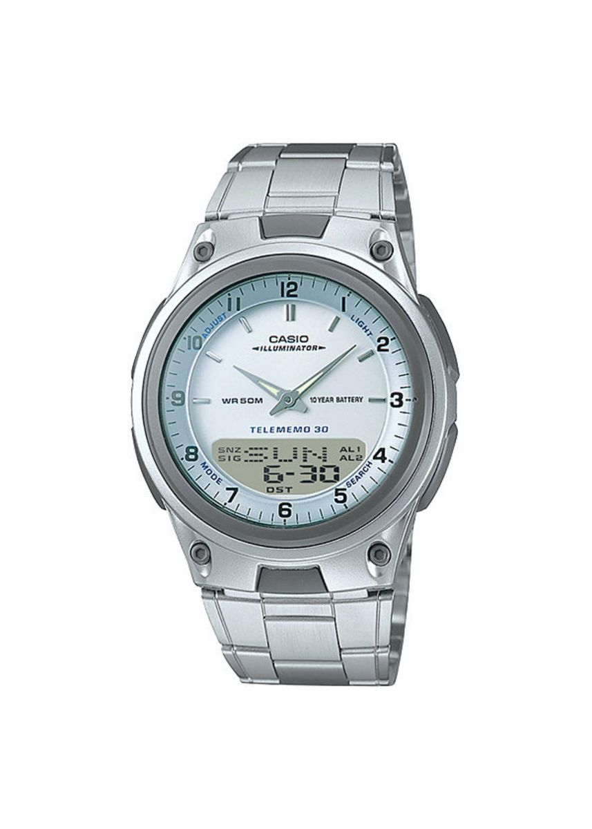 Silver color Digital . Casio Dual Display Men's Digital Watch -