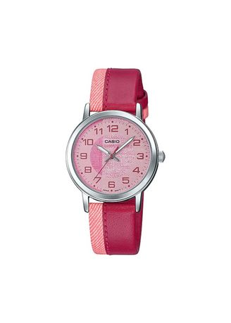 Pink color Analog . Casio Quartz Women's Leather Strap Analog Watch -