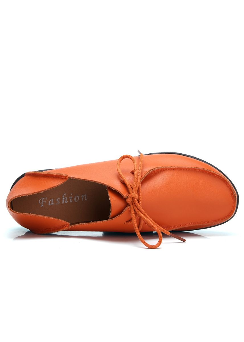 ส้ม color รองเท้าลำลอง . Lady Youth Student Sweet Moccasin-Gommino Driving Flat Leather Shoes  -