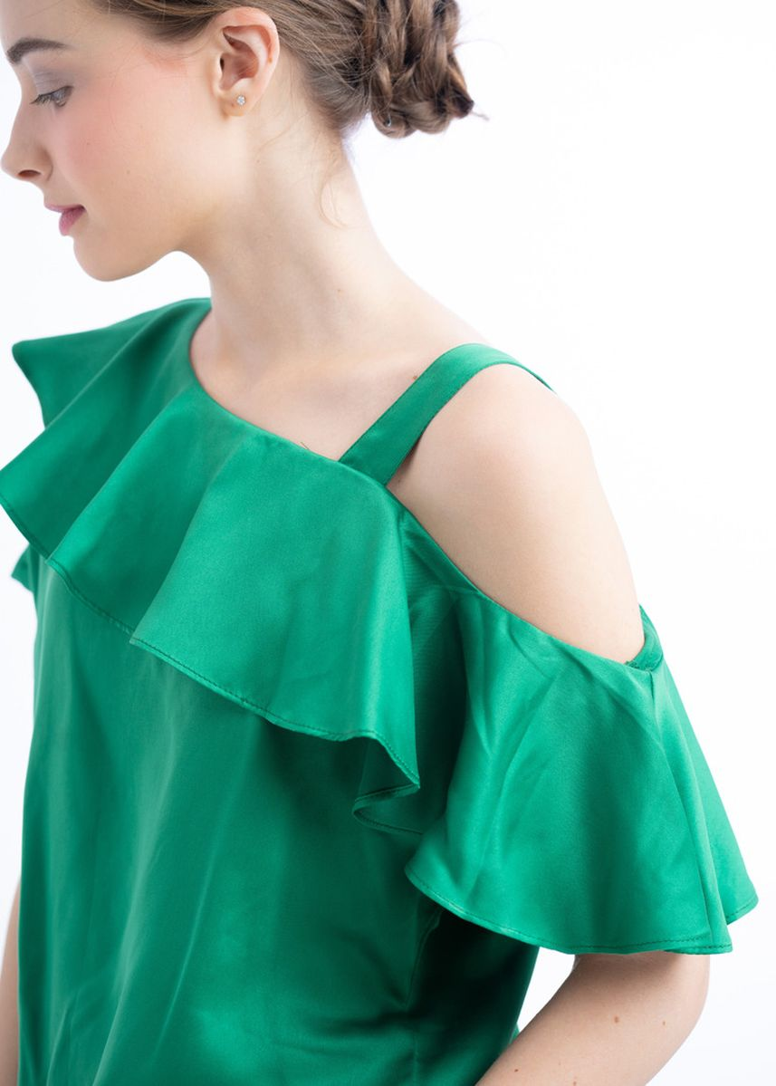 Green color Tops and Tunics . Josephine Ruffle Top -