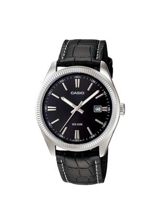 Black color Analog . Casio Quartz Men's Leather Strap Analog Watch -