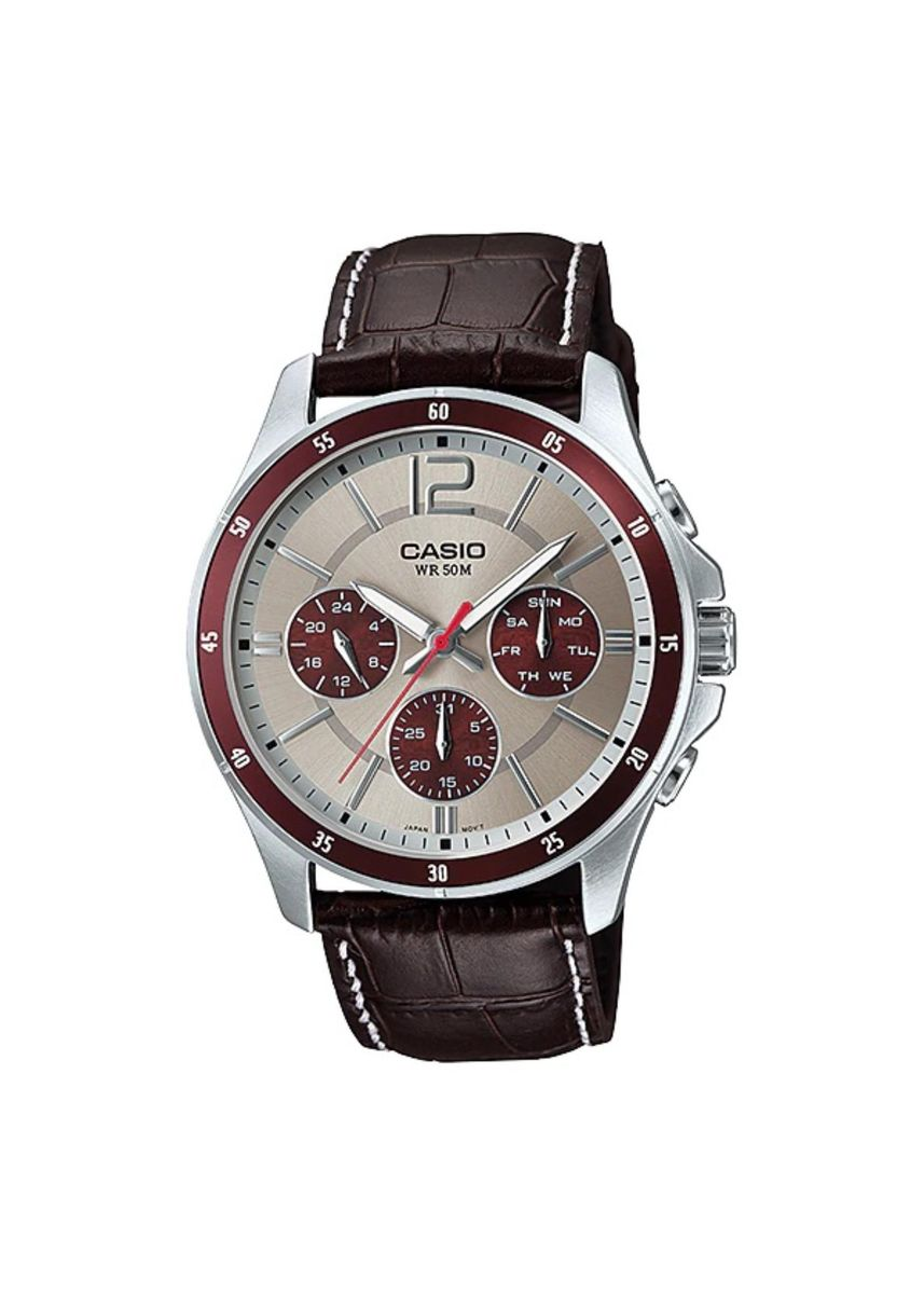 Brown color Analog . Casio Quartz Men's Leather Strap Analog Watch -
