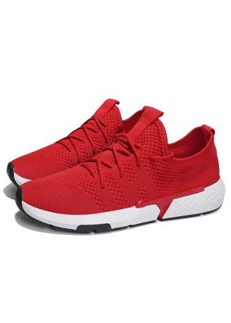 Red color Sports Shoes . Men's Sneakers Breathable Fabric Fitness Sport Shoes for Men PLUG -