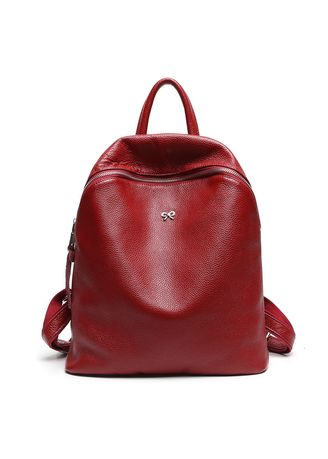 Red color Backpacks . Leisure Fashion Cowhide Backpack Travel Bag -