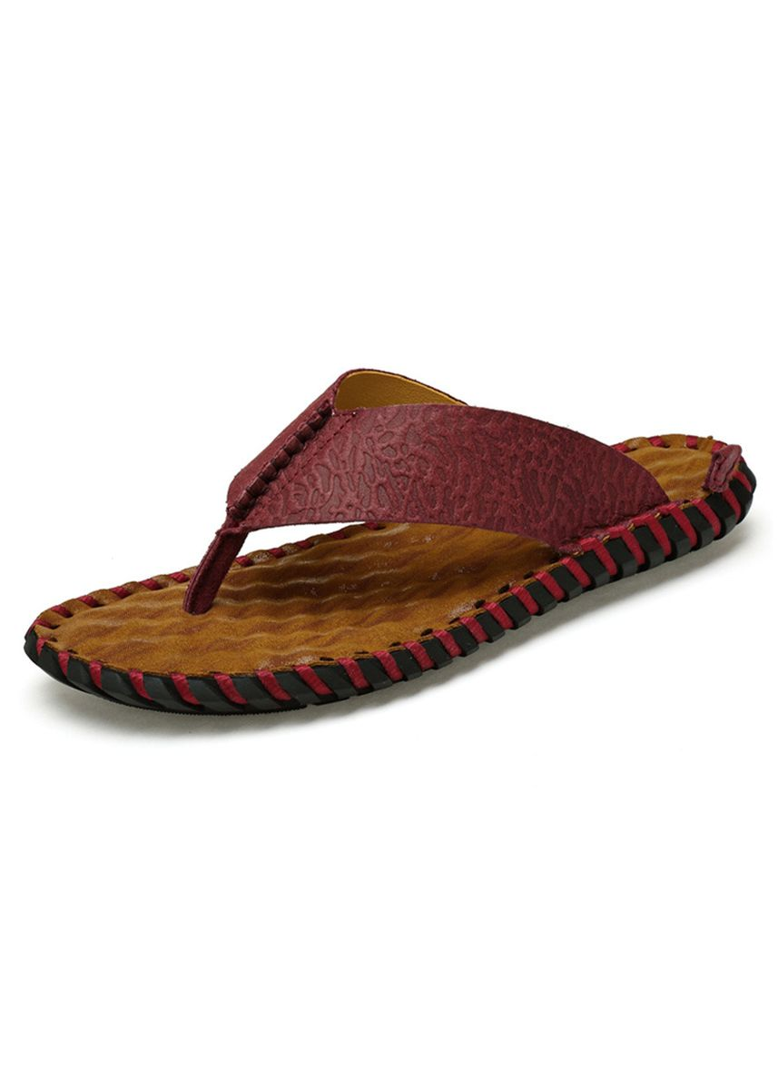 Red color Sandals and Slippers . Men's Genuine Leather Sandals -
