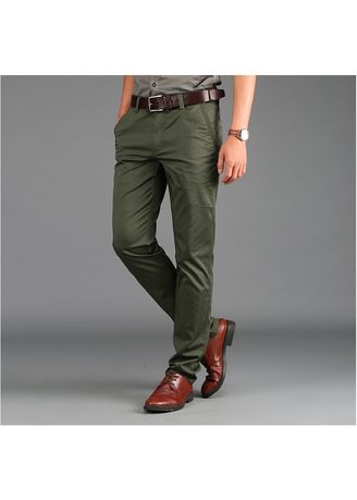 Green color Casual Trousers and Chinos . Men's Casual Chinos Cotton Straight Fashion Business Long Pants Formal Trouser -