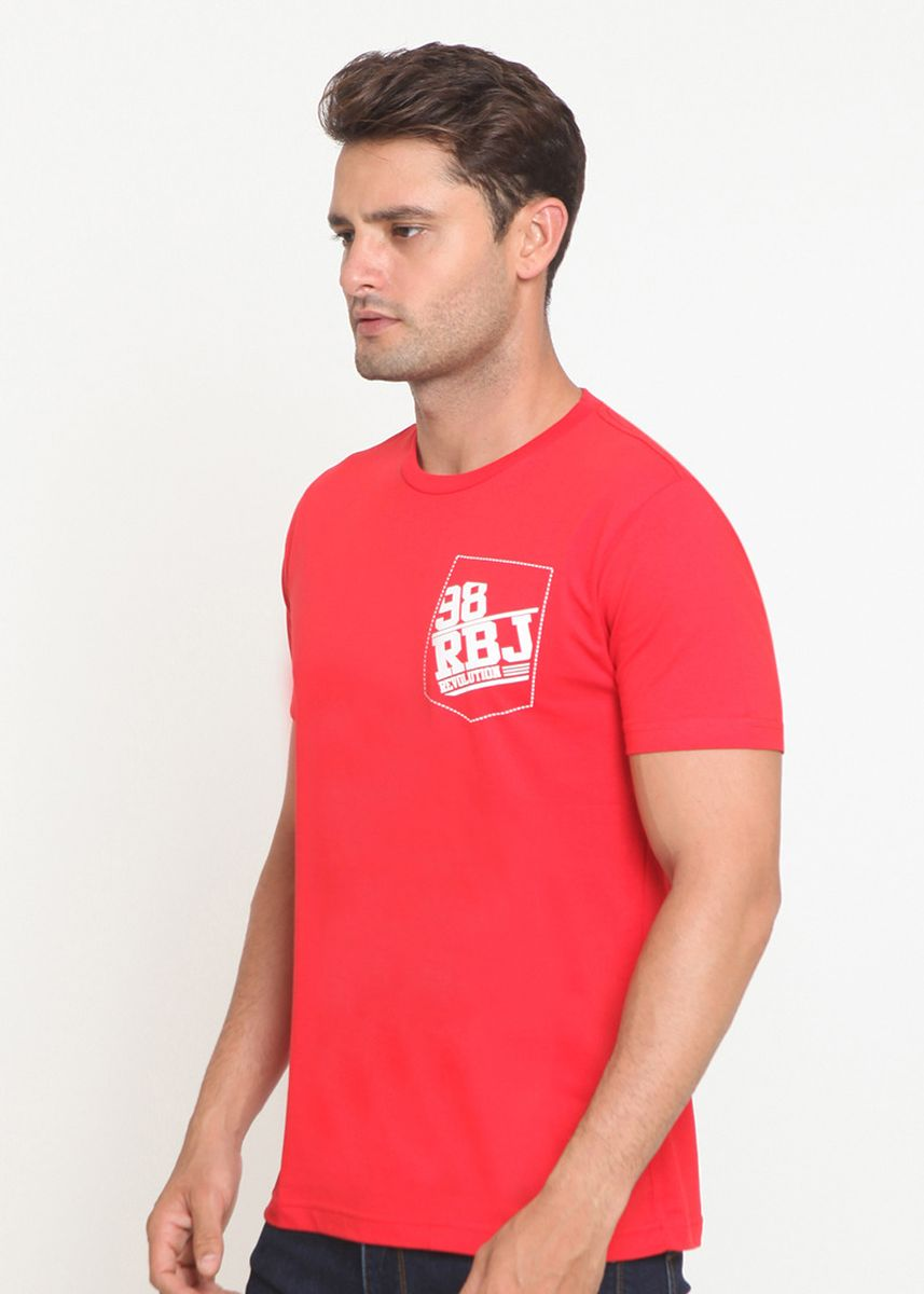 Red color T-Shirts and Polos . RBJ TShirt Pria Merah -