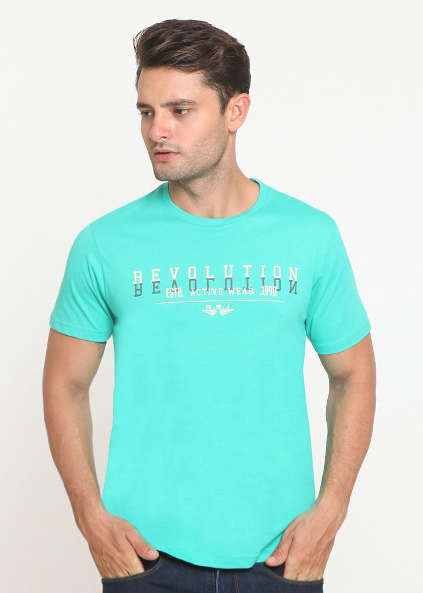Green color T-Shirts and Polos . RBJ TShirt Pria Tosca Green -