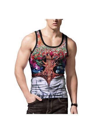 Multi color T-Shirts and Polos . Creative Trees Printed Vest -