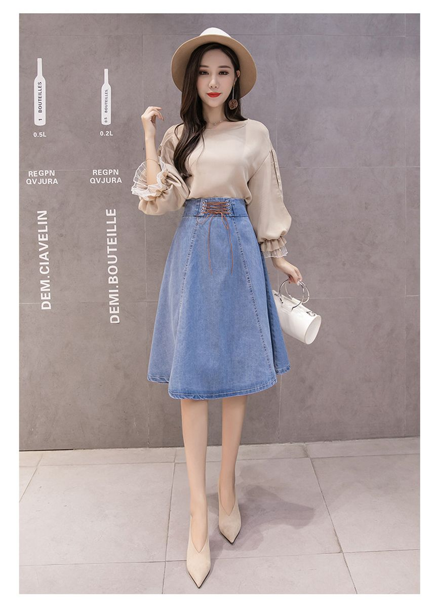 Light Blue color Skirts . Lace-up high waist pleated slim denim skirt -