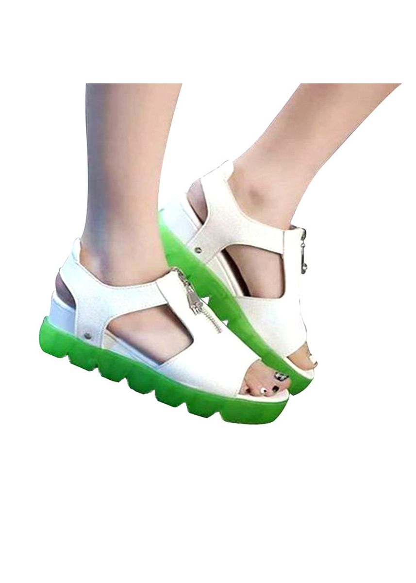 Green color Heels . Khoee 582 Green Women's Flat High Wedge Sandals Velcro Platform Chunky Creepers -