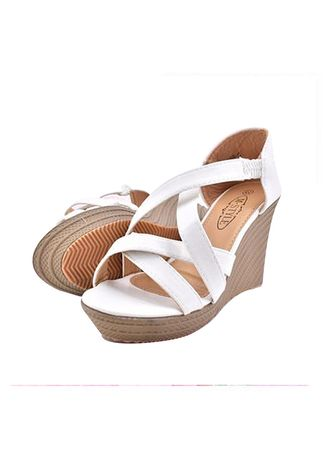 White color Heels . Khoee Arian Strappy Slip on Wedge Sandals -