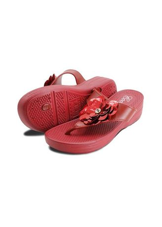 Maroon color Sandals and Slippers . Khoee Women's Slides Flat Slippers -