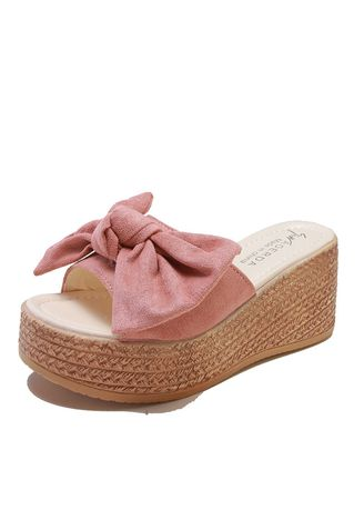 Pink color Sandals and Slippers . Fashion Bow Wedges With Ladies Sandals And Slippers, A Word Casual -