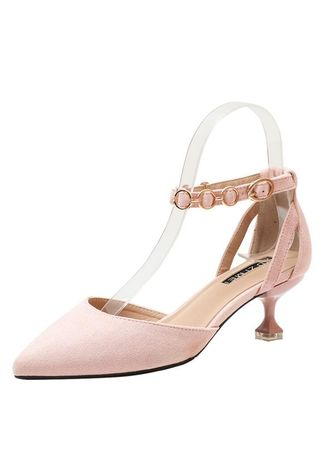 Pink color Heels . Help pointed high-heeled shoes with a buckle -