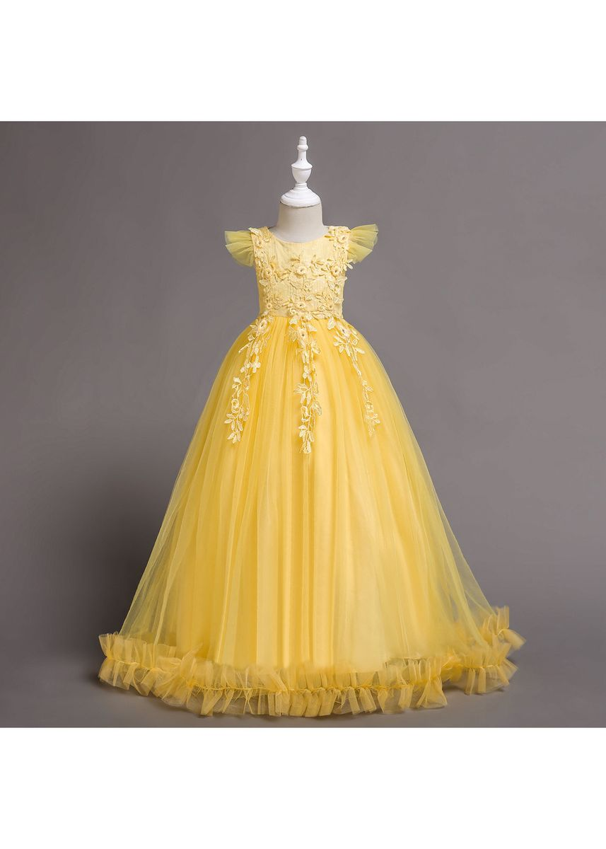 Yellow color Dresses . Girls Dress Children's Mesh Mopping Long Skirt In The Lace -