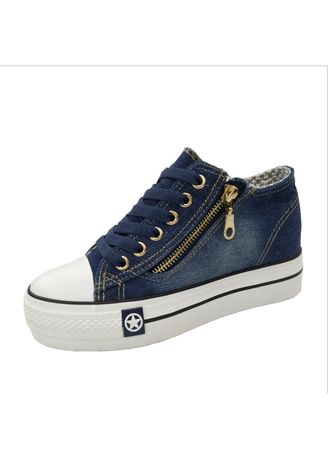 ฟ้า color รองเท้าลำลอง . Super Fire Side Zipper Denim Shoes Women's Casual Shoes -