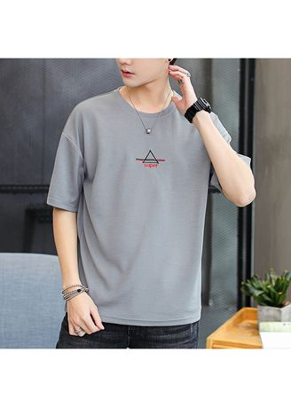 Grey color T-Shirts and Polos . Men's Solid Color Retro T-shirt -