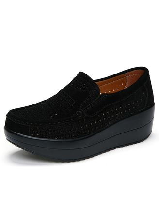 Black color Casual Shoes .  Women's fashion hollow loafer suede Heightening thick bottom shake  casual boat Shoes -