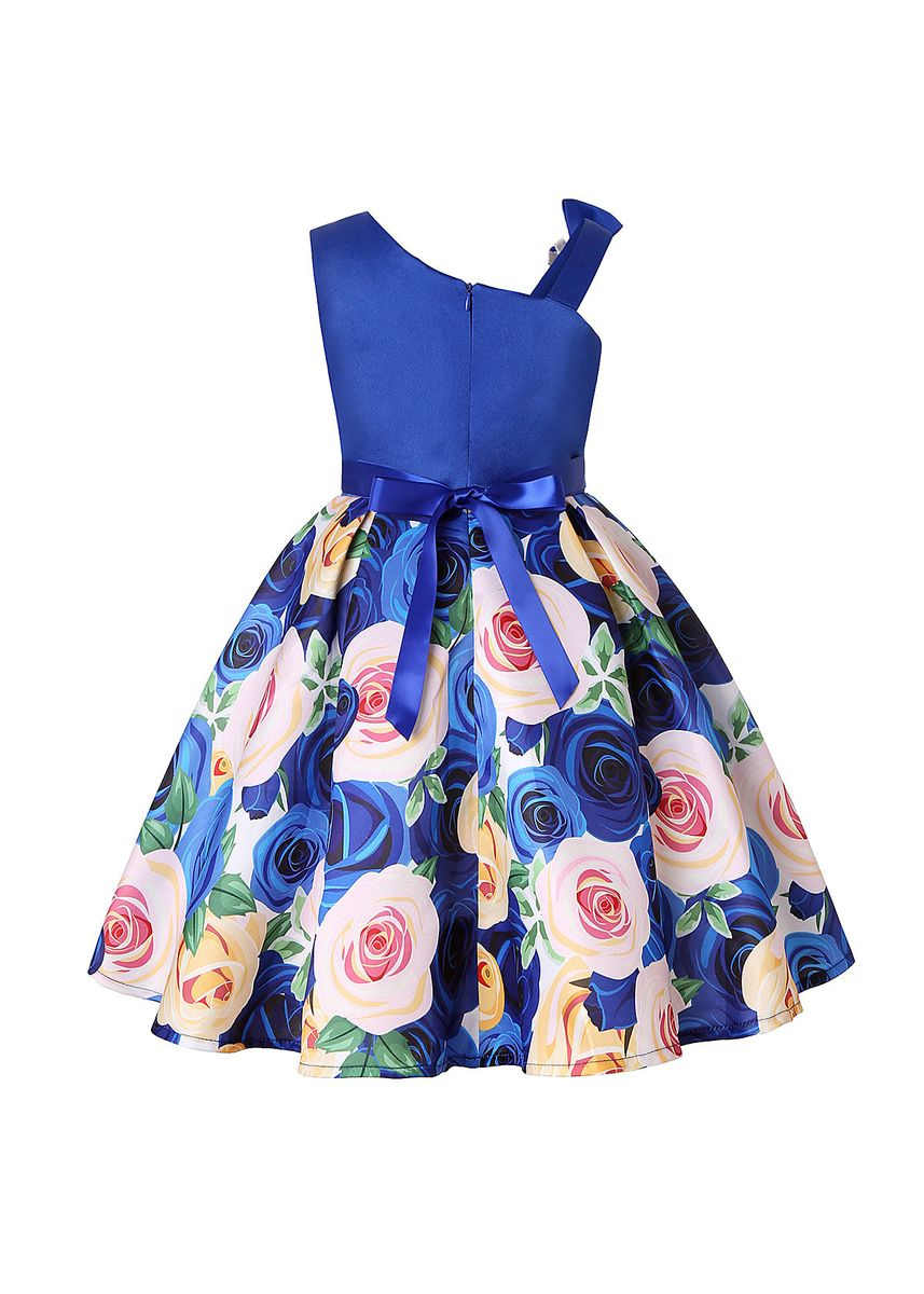 Blue color Dresses . Children's Dress Slant Shoulder Print Girls Child Wedding Skirt -