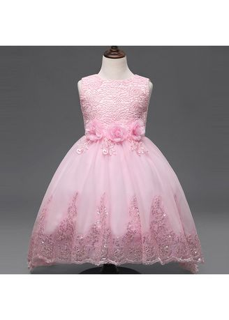 ชมพู color เดรส . Children's Wedding Dress Trailing Skirt Rose Girl Birthday Dinner -