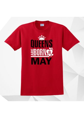 Red color Tees & Shirts . AC Prints Monthly Shirt Queens Are Born In May -