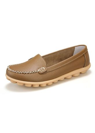 Khaki color Flats . Women's flat casual shoes shallow soft bottom oxford slip on peas Loafer -